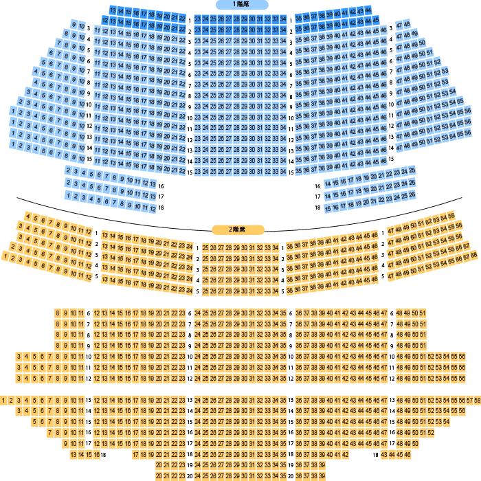 岡山市民会館 大ホール座席表(1,718人)- MDATA