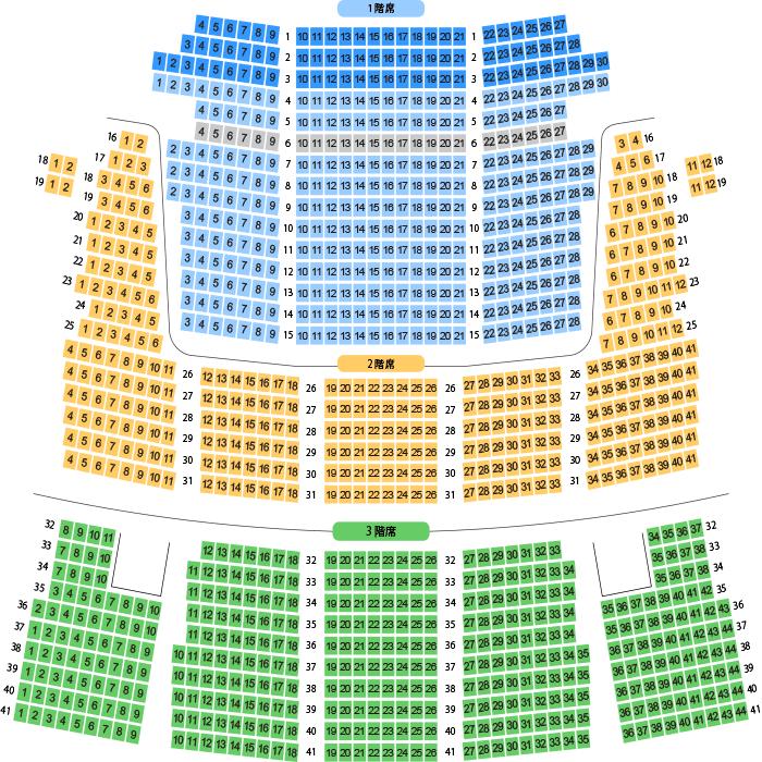 米子市公会堂 大ホール座席表(1,120人)- MDATA