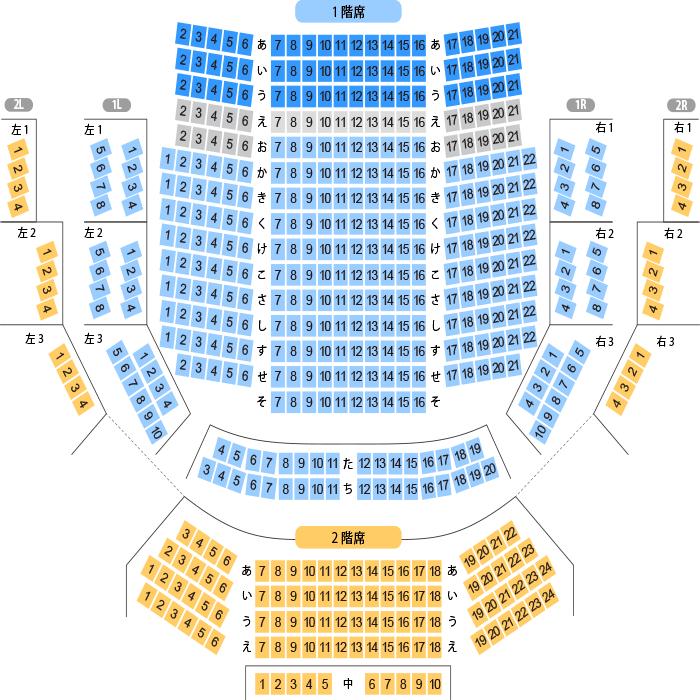 森のホール21 小ホール座席表(516人)- MDATA